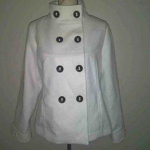 Chicos Sz 2 Double Breasted Jacket White Coat